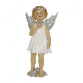 Angyal szívvel álló poly 11,5 cm x 8,5 cm x 24 cm fehér,ezüst