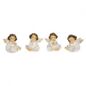 Angyal ülő poly 6,1 cm x 5,3  cm x 5,2 cm fehér 4 féle