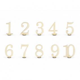 Asztal számok fa 10,5 cm natúr [10 db]