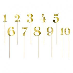 Asztalszám betűzős 26 cm arany [11 db]
