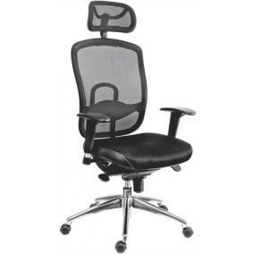 Főnöki szék, fejtámlával szövetborítás, hálós háttámla,