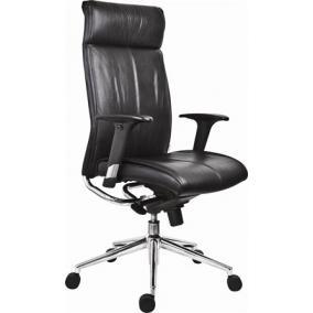 Főnöki szék, bőrborítás, ezüst színű lábkereszt,