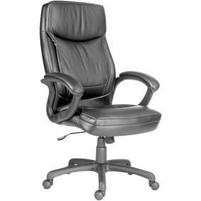 Főnöki szék, bőrborítás, fekete lábkereszt,
