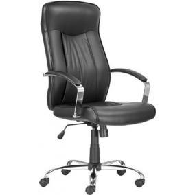 Főnöki szék, műbőr borítás, króm lábkereszt,