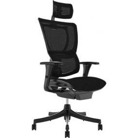 Főnöki szék, állítható karfával, feszített hálós háttámla, fekete lábkereszt
