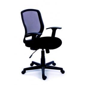 Irodai szék, karfás, fekete szövetborítás, feszített hálós háttámla, fekete lábkereszt, MAYAH