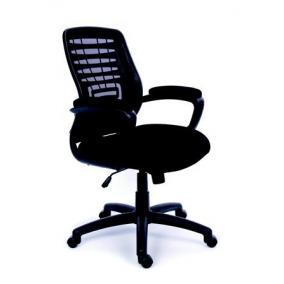 Irodai szék, karfás, fekete szövetborítás, hálós háttámla, fekete lábkereszt, MAYAH