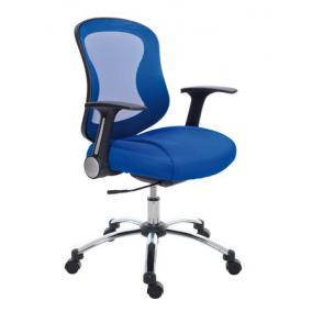 Irodai szék, karfával, kék szövetborítás, feszített hálós háttámla, króm lábkereszt, MAYAH