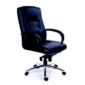 Főnöki szék, hintamechanikával, fekete bőrborítás, króm lábkereszt, MAYAH