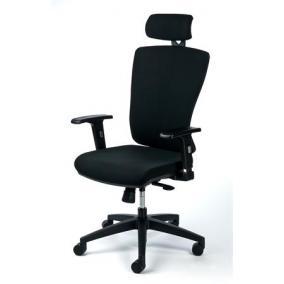 Irodai szék, állítható karfával, fekete szövetborítás, feszített hálós háttámla, fekete lábkereszt, MAYAH