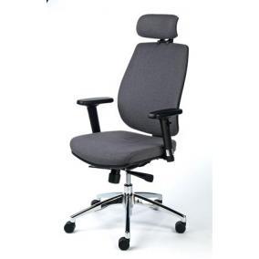Irodai szék, állítható karfával, szürke szövetborítás, alumínium  lábkereszt, MAYAH