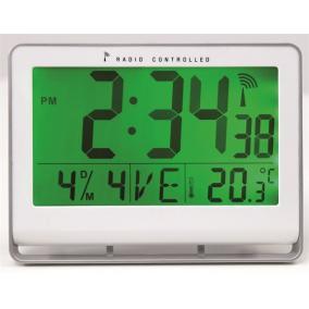 Falióra, rádióvezérlésű, LCD kijelzős, 22x20 cm, ALBA Horlcdnew, ezüst