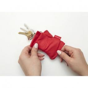Bevásárló szatyor, kulcstartón hordozható, piros