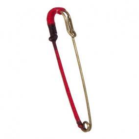Biztosítótű fonallal fém 9cm piros,óarany [6 db]
