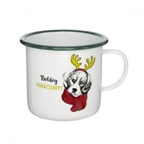 Bögre Boldog Karácsonyt felirattal kutyával bádog 11 cm x 11 cm x 10 cm fehér,zöld