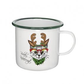 Bögre Boldog Karácsonyt felirattal macskával bádog 11 cm x 11 cm x 10 cm fehér,zöld