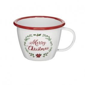 Bögre Merry Christmas felirattal bádog 36 cm x 25 cm x 35 cm fehér,piros