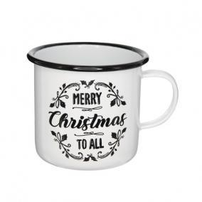 Bögre Merry Christmas felirattal bádog 11 cm x 11 cm x 10 cm fehér,fekete