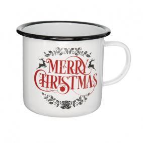 Bögre Merry Christmas felirattal bádog 11 cm x 11 cm x 10 cm fehér,fekete,piros
