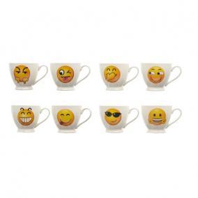 Bögre emoji-val kerámia 11 cm x 8,5 cm fehér, sárga 8 féle