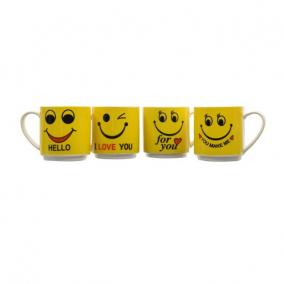 Bögre emoji-val kerámia 8 cm x 8,8 cm sárga 4 féle