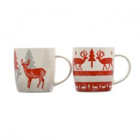 Bögre fenyőfával, rénszarvassal, hópihével kerámia 8,5 cm x 9 cm piros, fehér, szürke 3 féle