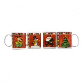 Bögre hóemberrel, mikulással, rénszarvassal, karácsonyfával kerámia 8x9,5cm piros,zöld 4 féle