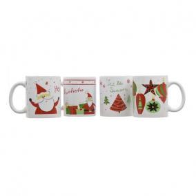 Bögre karácsonyi díszekkel, mikulással, karácsonyfával kerámia fehér, piros 4 féle