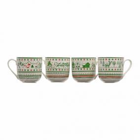 Bögre téli tájjal, karácsonyi díszekkel kerámia 9 cm x 9 cm piros, fehér, zöld 4 féle