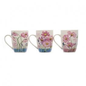Bögre virág mintával kerámia 8,3 cm x 10,5 cm fehér, rózsaszín 4 féle