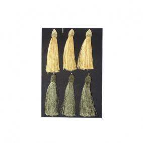 Bojt textil 14cm arany/zöld [6 db]