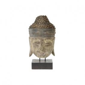 Buddha fej álló fa 20 cm x 10 cm x 39 cm antik zöld