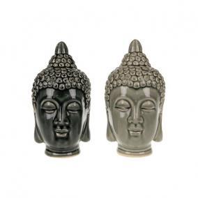 Buddha fej kerámia 10 cm x 10 cm x 20 cm szürke