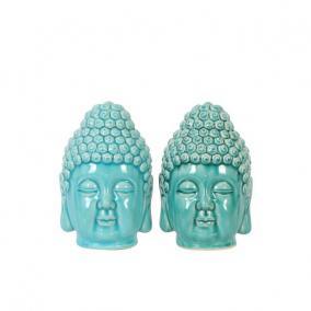 Buddha fej kerámia 12 cm x 11 cm x 18,5 cm kék, zöld 2 féle