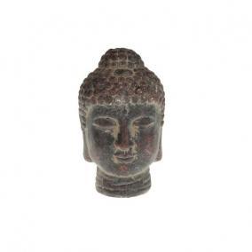 Buddha fej kerámia 8x13cm sötét barna