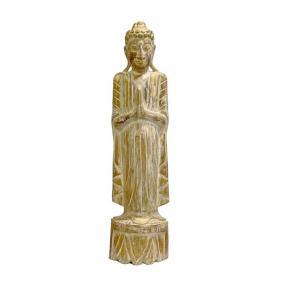 Buddha szobor fa 22 cm x 10 cm x 78 cm natúr,arany