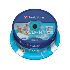 CD-R lemez, nyomtatható, matt, ID, AZO, 700MB, 52x, hengeren, VERBATIM [25 db]