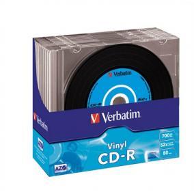 CD-R lemez, bakelit lemez-szerű felület, AZO, 700MB, 52x, vékony tok, VERBATIM