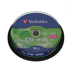 CD-RW lemez, újraírható, SERL, 700MB, 8-10x, hengeren VERBATIM [10 db]