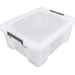 Műanyag tárolódoboz, átlátszó, 24 liter, ALLSTORE