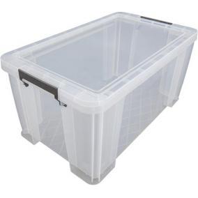 Műanyag tárolódoboz, átlátszó, A4 méretű papírok tárolására, 54 liter, ALLSTORE