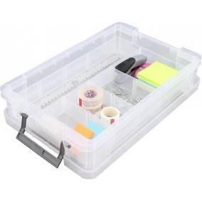Műanyag tárolódoboz, átlátszó, rendező tálcával, 5,5 liter, ALLSTORE