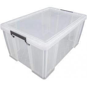 Műanyag tárolódoboz, átlátszó, 70 liter, ALLSTORE