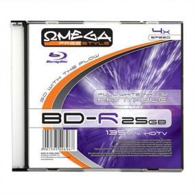 BD-R Blu-Ray SL 25GB 4x nyomtatható, slim tok(Omega)