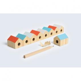 Ceruzahegyező, Édes Otthon, fa-fém 3x3x2cm, vegyes színben