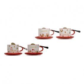 Csésze karácsonyi mintával alátéttel kerámia fehér, piros 4 féle