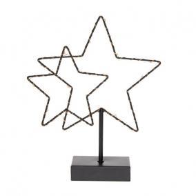 Csillag 2db álló fém,LEDes, elemes 22,5cm x 5,5cm x 28 cm fekete