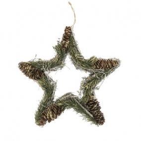 Csillag fenyővel, tobozzal glitteres akasztós 30 cm fehér,zöld,arany