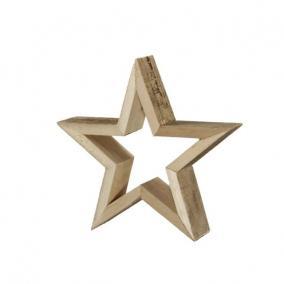 Csillag lyukas álló fa 44 cm x 7 cm natúr