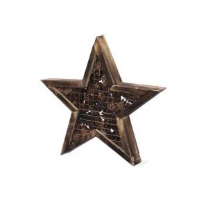 Csillag tobozzal fa 35,5 cm x 5 cm natúr